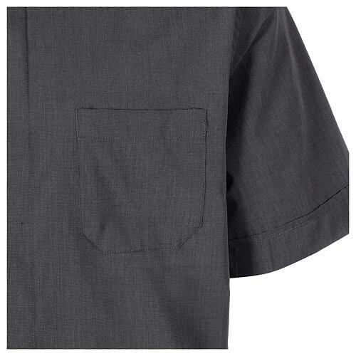 Chemise clergyman gris foncé fil à fil manches courtes 4