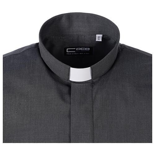 Chemise clergyman gris foncé fil à fil manches courtes 5