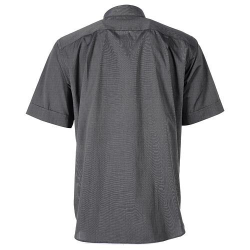 Chemise clergyman gris foncé fil à fil manches courtes 6