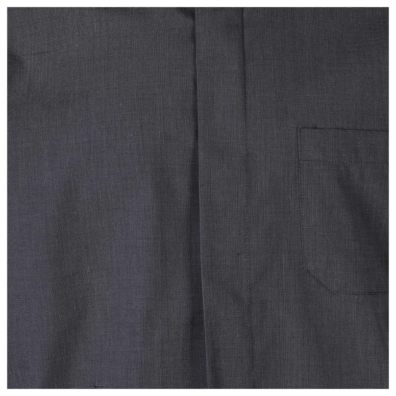 Camicia clergyman grigio scuro fil a fil m. corta 4