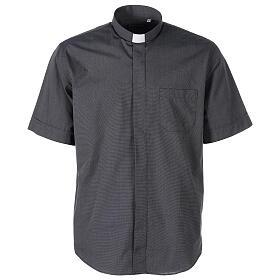 Camicia clergyman grigio scuro fil a fil m. corta s1