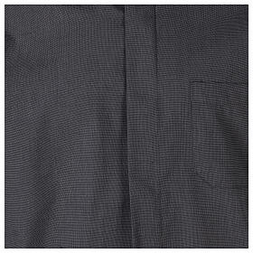 Camicia clergyman grigio scuro fil a fil m. corta s2