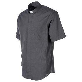 Camicia clergyman grigio scuro fil a fil m. corta s3