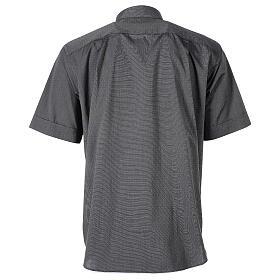 Camicia clergyman grigio scuro fil a fil m. corta s6