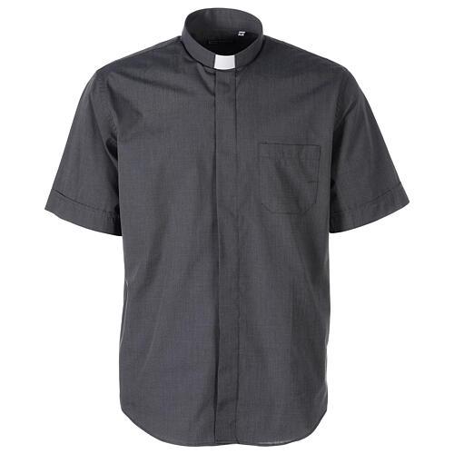 Camicia clergyman grigio scuro fil a fil m. corta 1