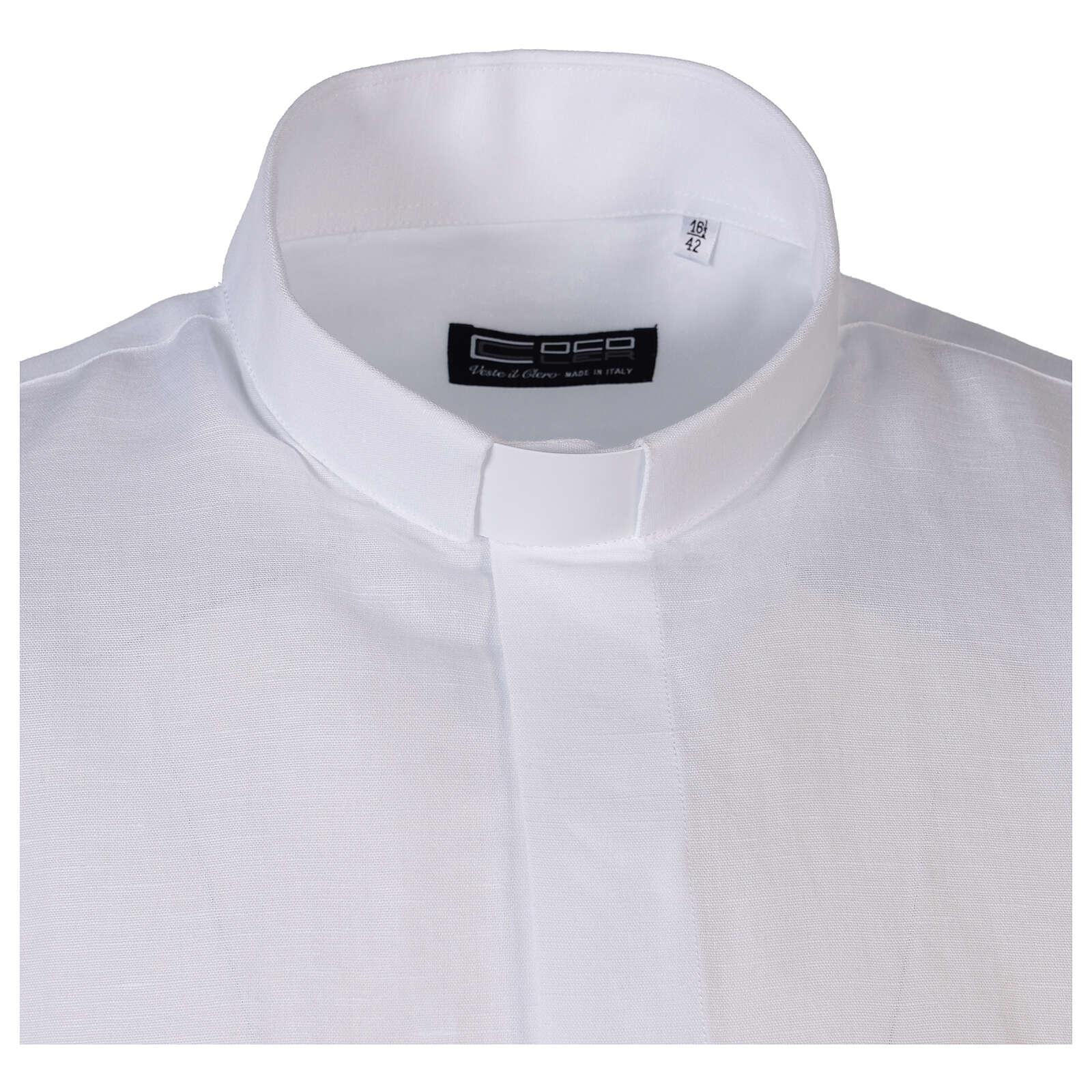 Camisa cuello clergy de hilo media manga blanco 4