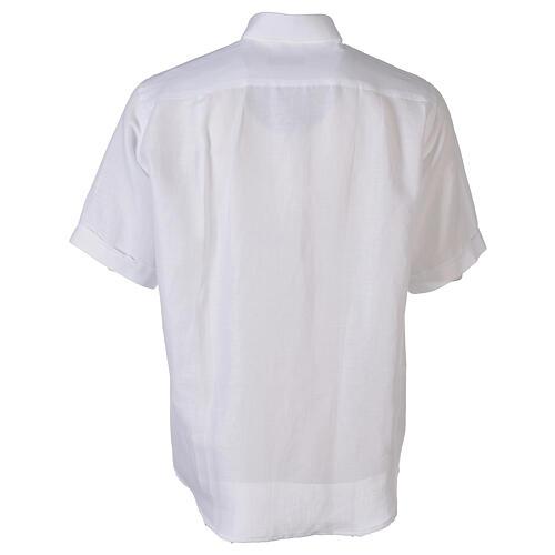 Camisa cuello clergy de hilo media manga blanco 6