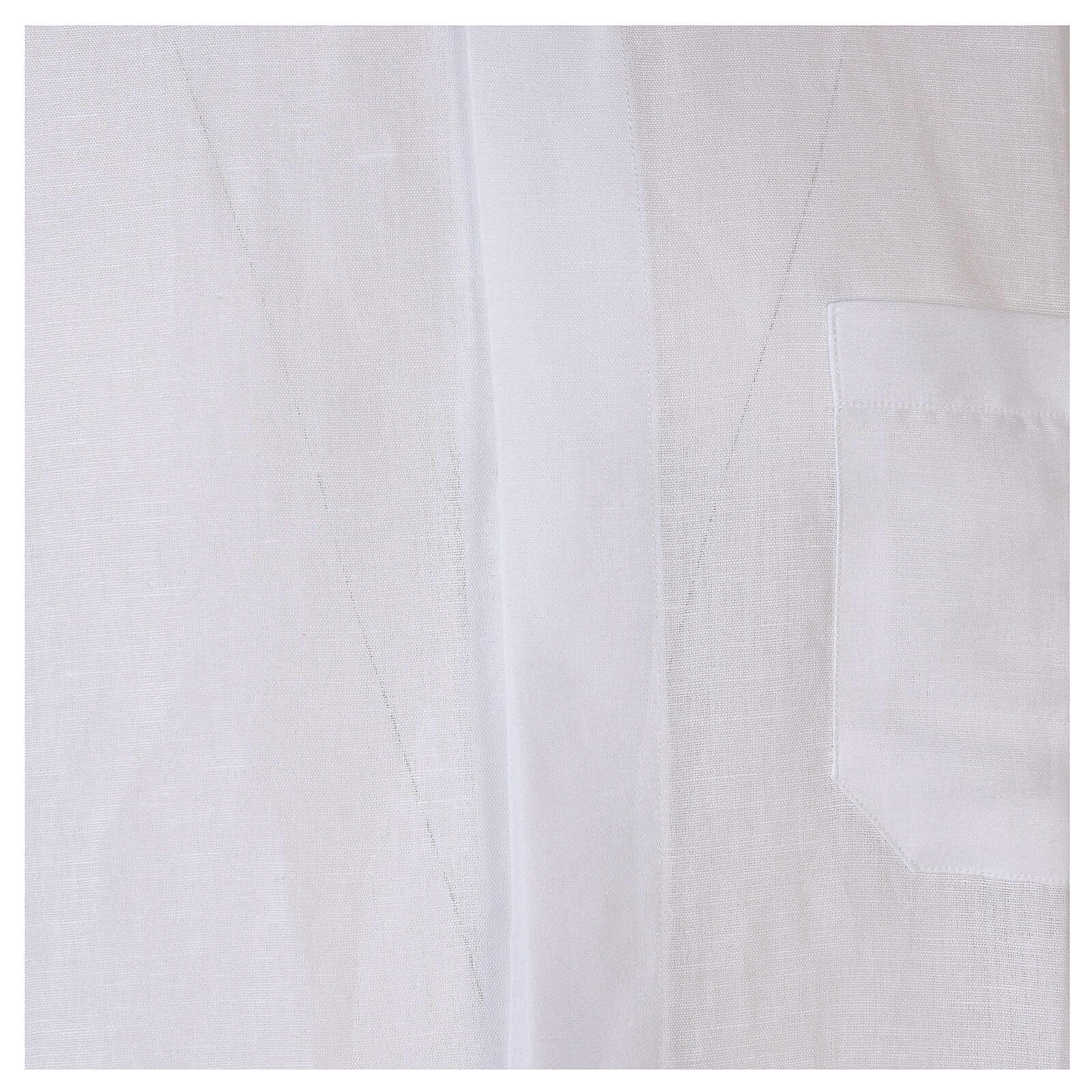 Camicia collo clergy in lino mezza manica bianco 4