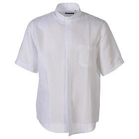 Camicia collo clergy in lino mezza manica bianco s1
