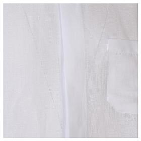 Camicia collo clergy in lino mezza manica bianco s2