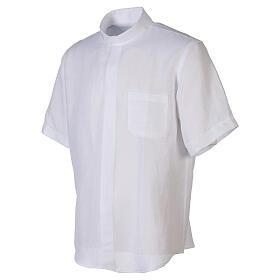 Camicia collo clergy in lino mezza manica bianco s3