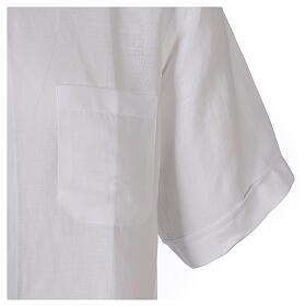 Camicia collo clergy in lino mezza manica bianco s4