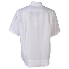 Camicia collo clergy in lino mezza manica bianco s6