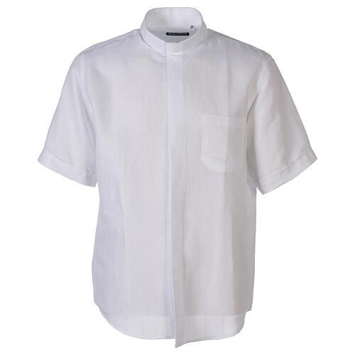 Camicia collo clergy in lino mezza manica bianco 1