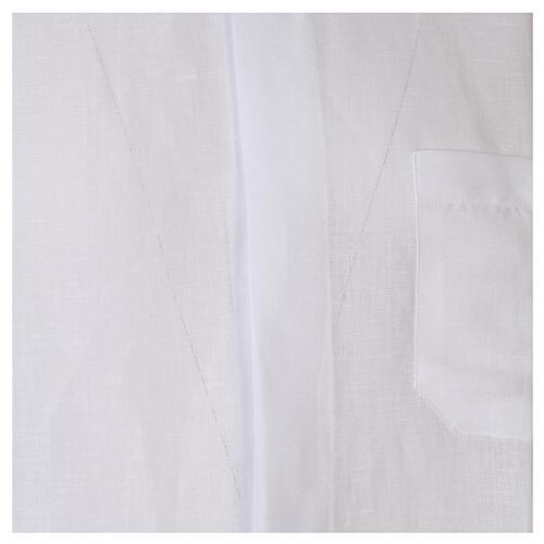 Camicia collo clergy in lino mezza manica bianco 2