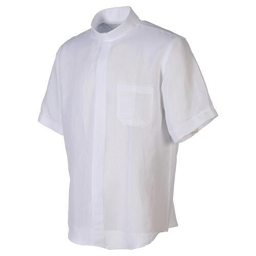 Camicia collo clergy in lino mezza manica bianco 3