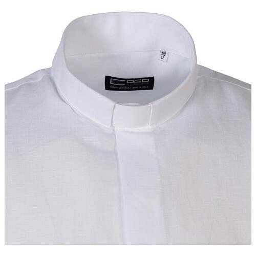 Camicia collo clergy in lino mezza manica bianco 5
