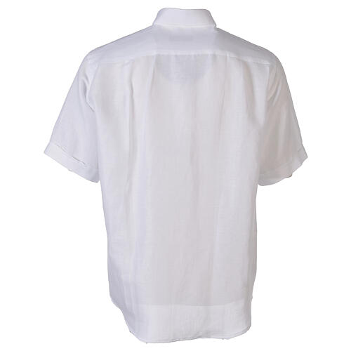 Camicia collo clergy in lino mezza manica bianco 6