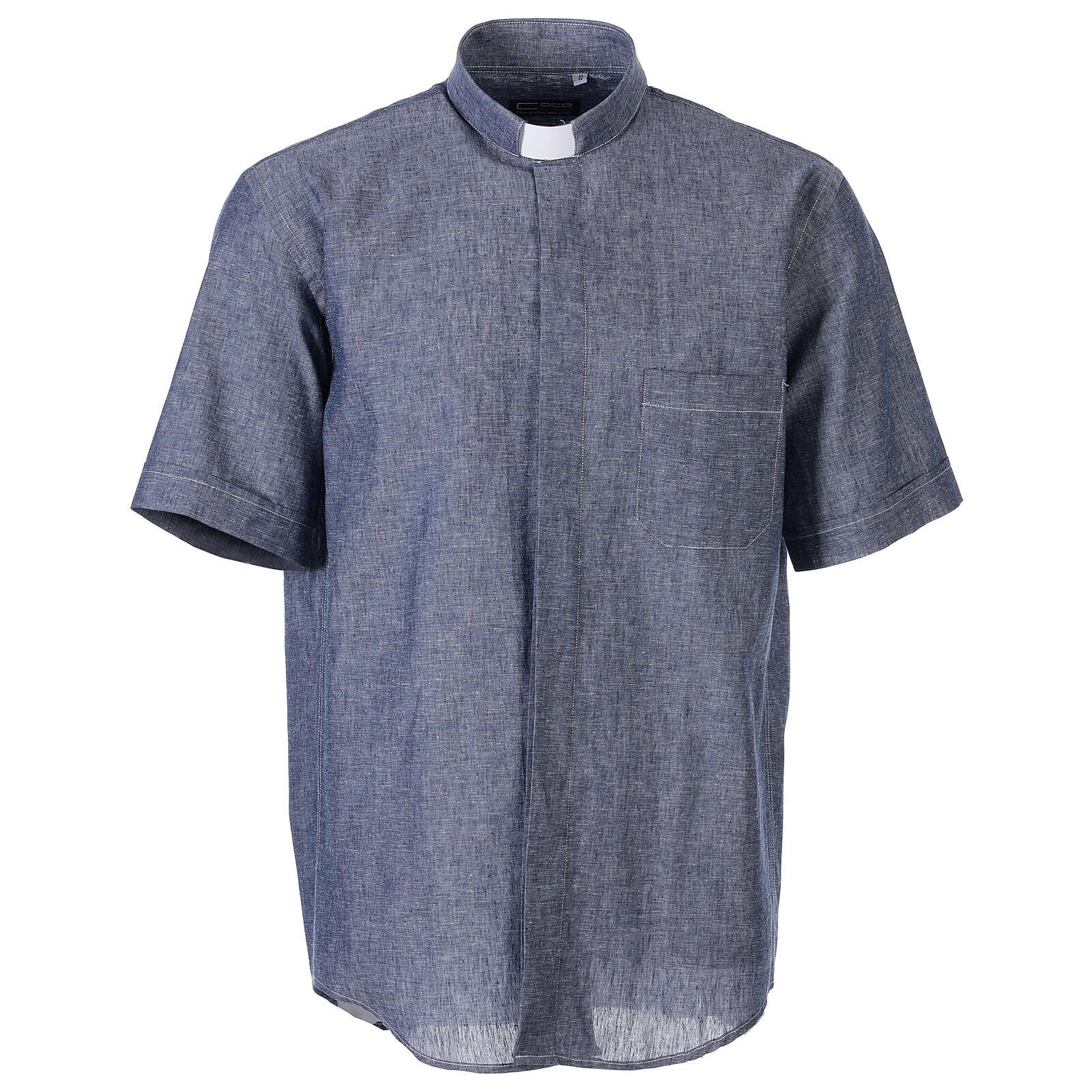 Camisa clergyman azul de hilo con manga corta 4