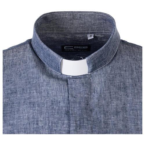 Camisa clergyman azul de hilo con manga corta 5