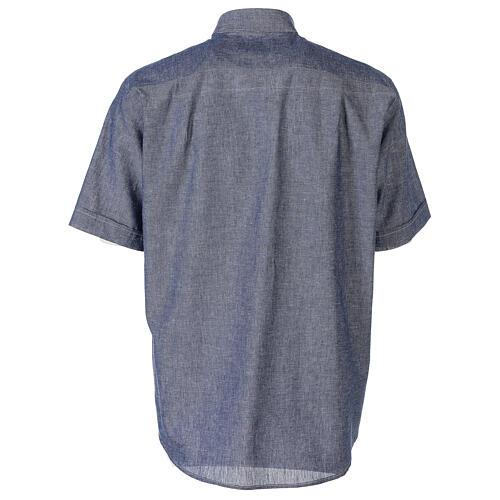 Camisa clergyman azul de hilo con manga corta 6