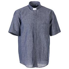 Camicia clergyman blu in lino a manica corta s1