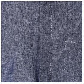 Camicia clergyman blu in lino a manica corta s2