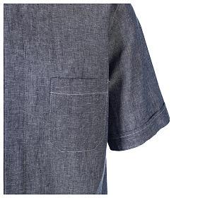 Camicia clergyman blu in lino a manica corta s4