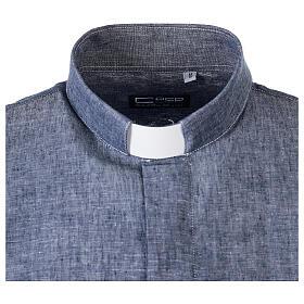 Camicia clergyman blu in lino a manica corta s5