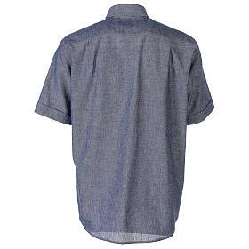 Camicia clergyman blu in lino a manica corta s6