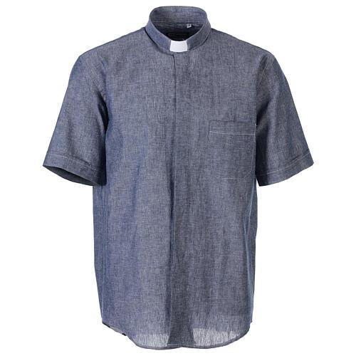 Camicia clergyman blu in lino a manica corta 1