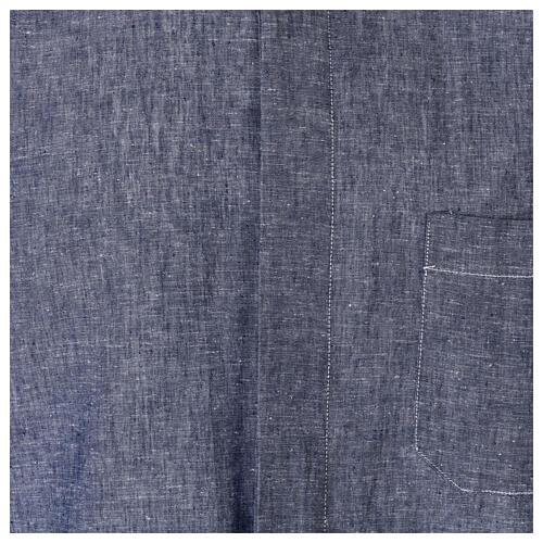 Camicia clergyman blu in lino a manica corta 2