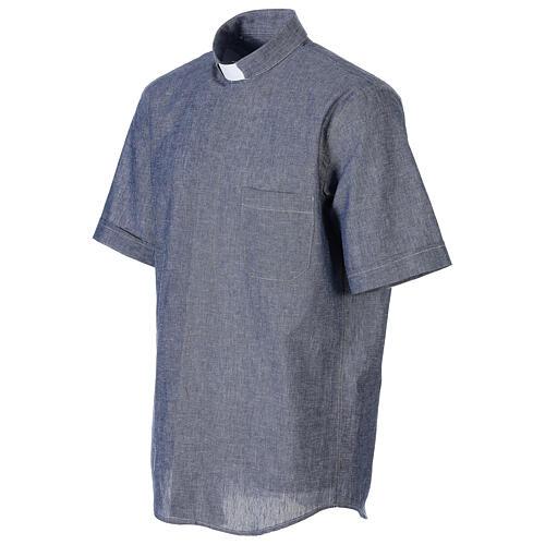Camicia clergyman blu in lino a manica corta 3