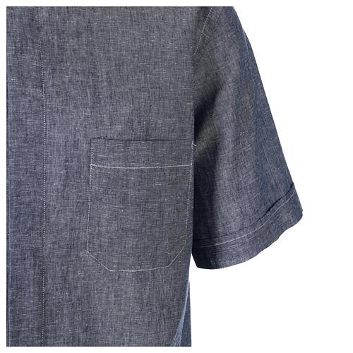 Camicia clergyman blu in lino a manica corta 4