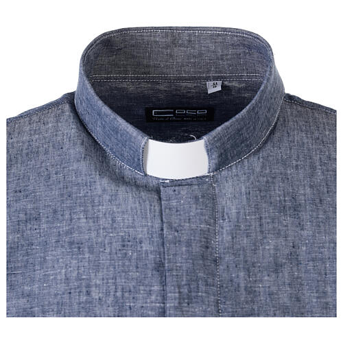 Camicia clergyman blu in lino a manica corta 5