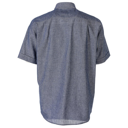 Camicia clergyman blu in lino a manica corta 6