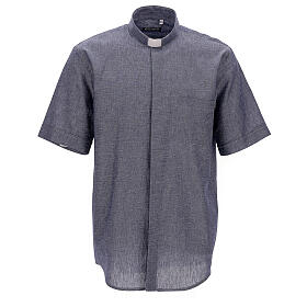 Koszula kapłańska niebieska z lnu krótki rękaw s1