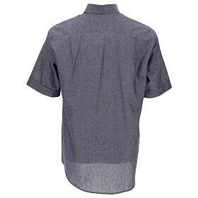 Koszula kapłańska niebieska z lnu krótki rękaw s4