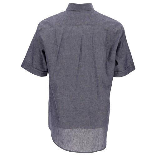 Koszula kapłańska niebieska z lnu krótki rękaw 4