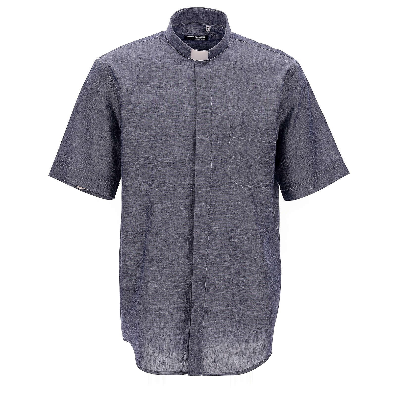 Camisa para sacerdote azul escuro em linho de manga curta 4