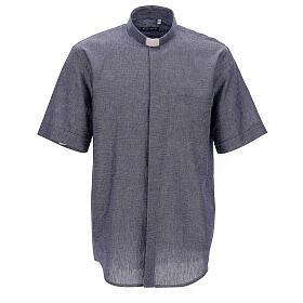 Camisa para sacerdote azul escuro em linho de manga curta s1