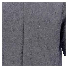 Camisa para sacerdote azul escuro em linho de manga curta s2
