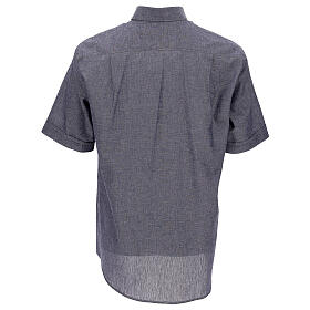 Camisa para sacerdote azul escuro em linho de manga curta s4