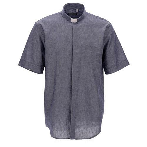 Camisa para sacerdote azul escuro em linho de manga curta 1