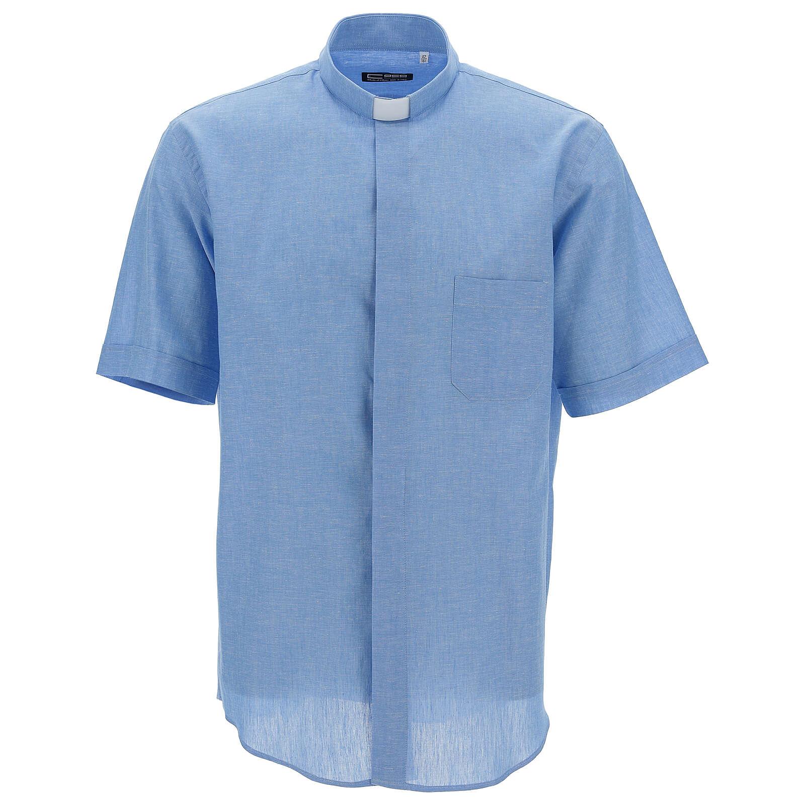 Camisa clergy de hilo celeste manga corta 4