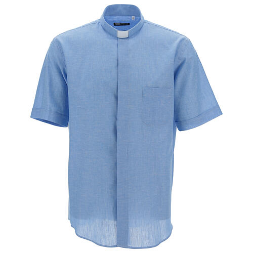 Camisa clergy de hilo celeste manga corta 1