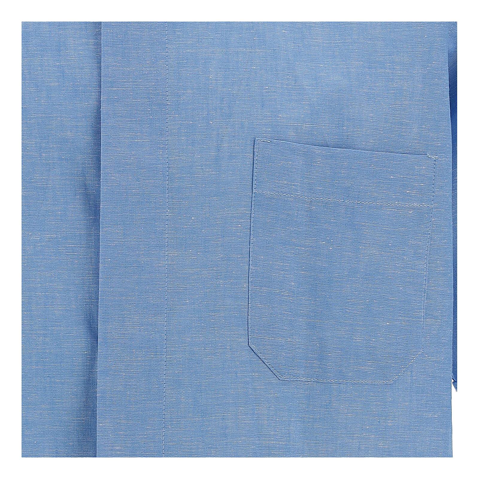 Chemise clergy bleu ciel en lin à manches courtes 4