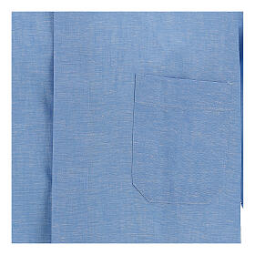 Chemise clergy bleu ciel en lin à manches courtes s2