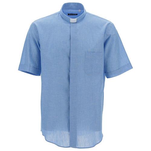 Chemise clergy bleu ciel en lin à manches courtes 1