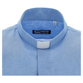 Camicia clergy in lino celeste manica corta s3